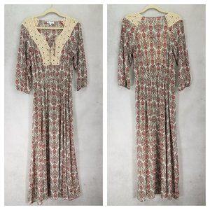 DR2 by Daniel Rainn M Boho Peasant Maxi Dress